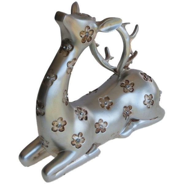 Set of 2 silver reindeer christmas holiday table top for Home decor reindeer christmas figurine set