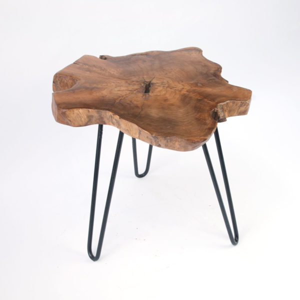 Contemporary Solid Natural Timber Teak Wooden Side Table With Metal Wire  Legs $148