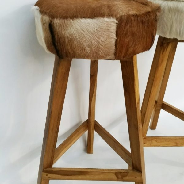 Goat hide tall wooden stools g d home quality