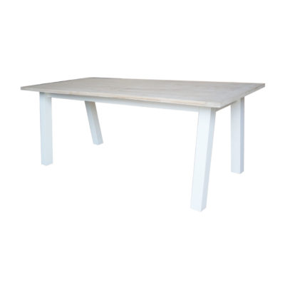 Mindi wood dining table, white legs natural table top