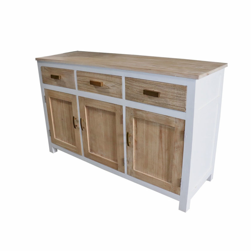 White mindi wood side unit with 3 natural finish drawers and doors