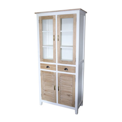 white and natural finish display cabinet with glass and wooden doors, 2 drawers