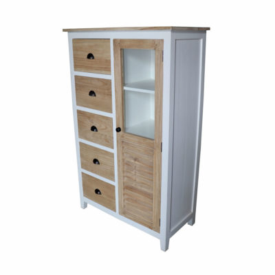 white and natural finish cabinet with 5 wooden drawers and glass door
