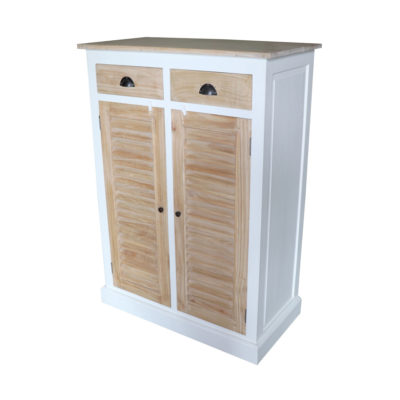 white and natural finish cabinet with wooden drawers and doors