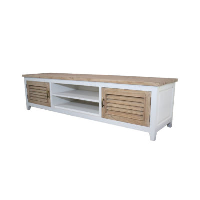 wooden white and natural finish TV Unit with 2 shelves and 2 drawers