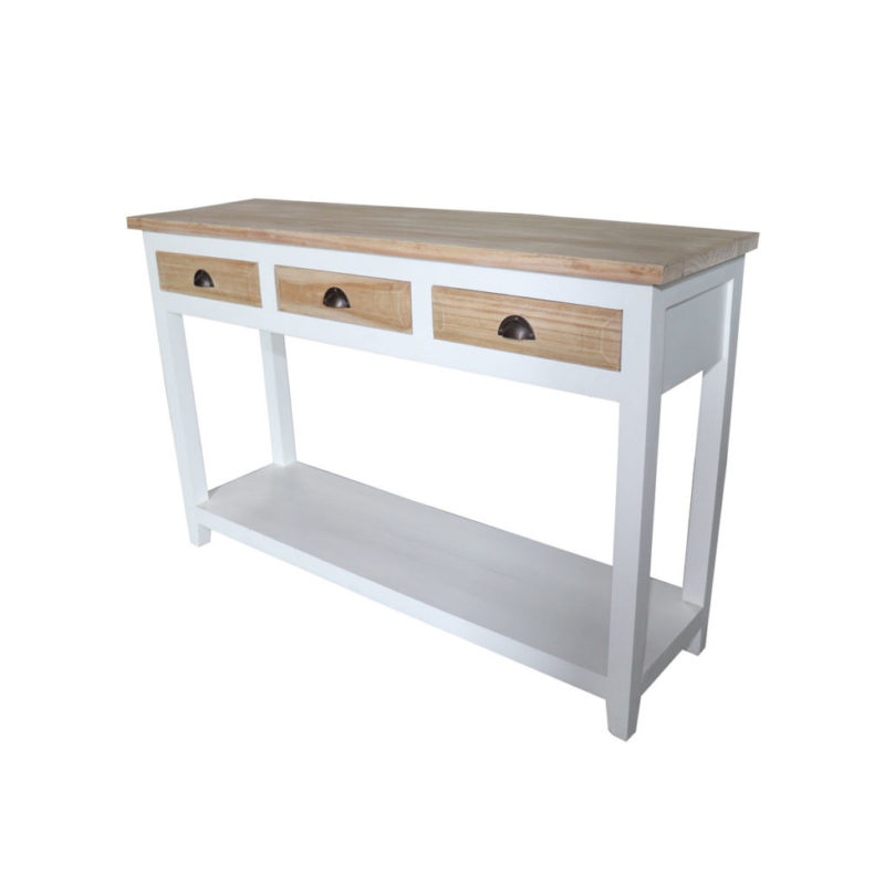 white mindi wood console with 3 natural finish drawers and table top