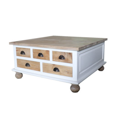 mindi wood square coffee table with 5 natural finish drawers and table top
