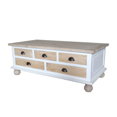 white mindi wood coffee table with 5 natural finish drawers and spherical feet
